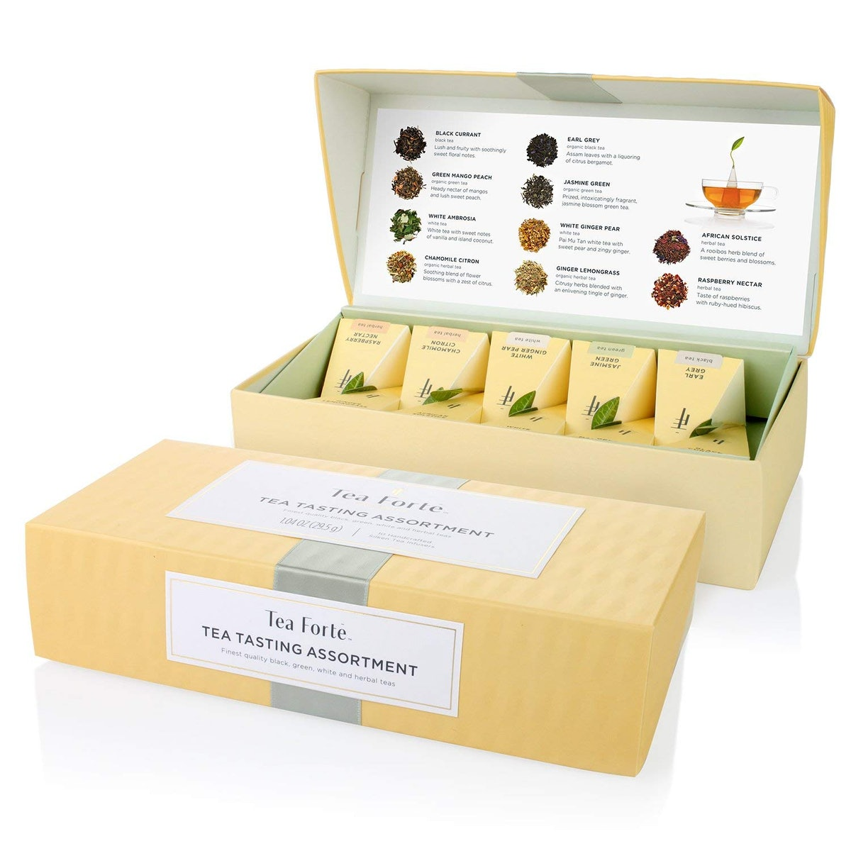 Tea Forte Tea Tasting Assortment Petite Presentation Box Tea Sampler (10-Pack)