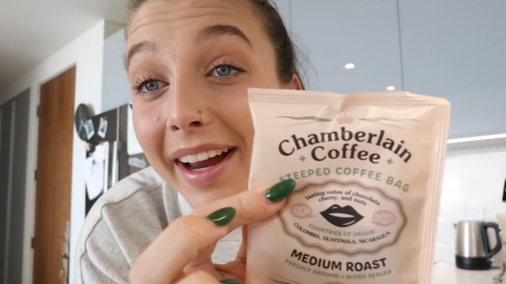 A screenshot from the video of Emma Chamberlain's new coffee announcement.
