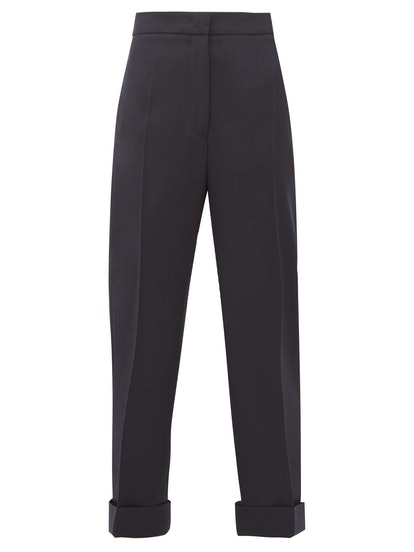 High-Rise Wool Twill Trousers