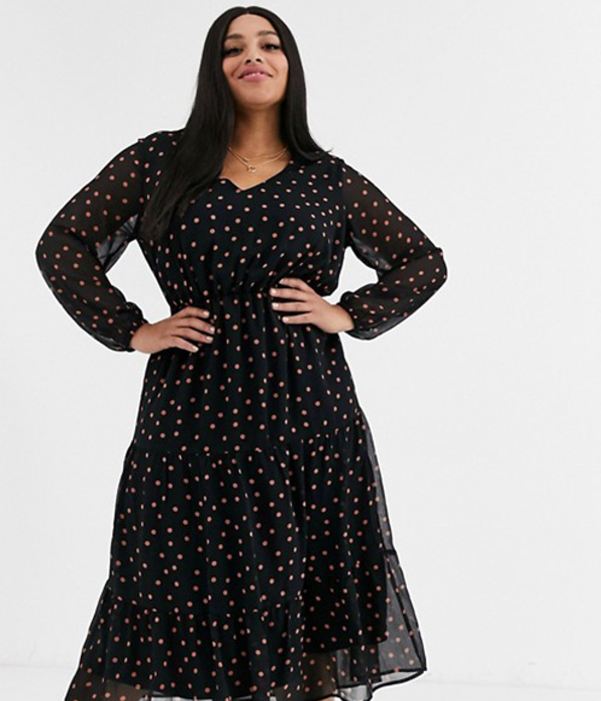 New Look Curve Long Sleeve Tiered Midi Dress in Rust Spot