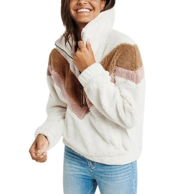 Long Sleeved Zipper Sherpa Sweatshirt