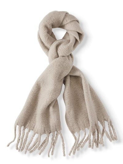 Muffler Scarf with Oversized Fringe