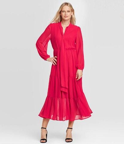Who What Wear Long Sleeve Round Neck Romantic Midi Dress