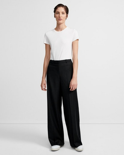 Sleek Flannel Wide-Leg Pants