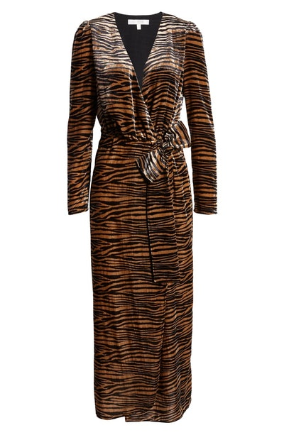 Arlene Tiger Print Long Sleeve Wrap Velvet Maxi Dress