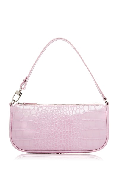Pink Croc-Effect Leather Rachel Bag