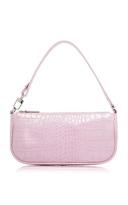 Pink Croc-Effect Leather Rachel Bag