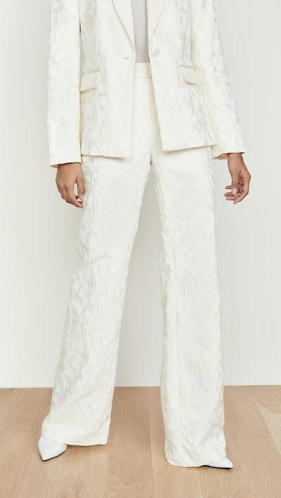 White Floral Jacquard Bouras Pants