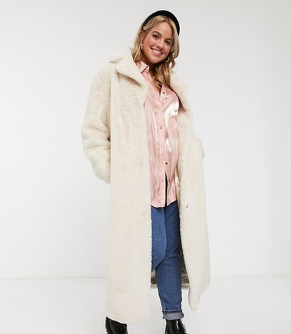 Plush Faux Fur Belted Longline Maxi Coat