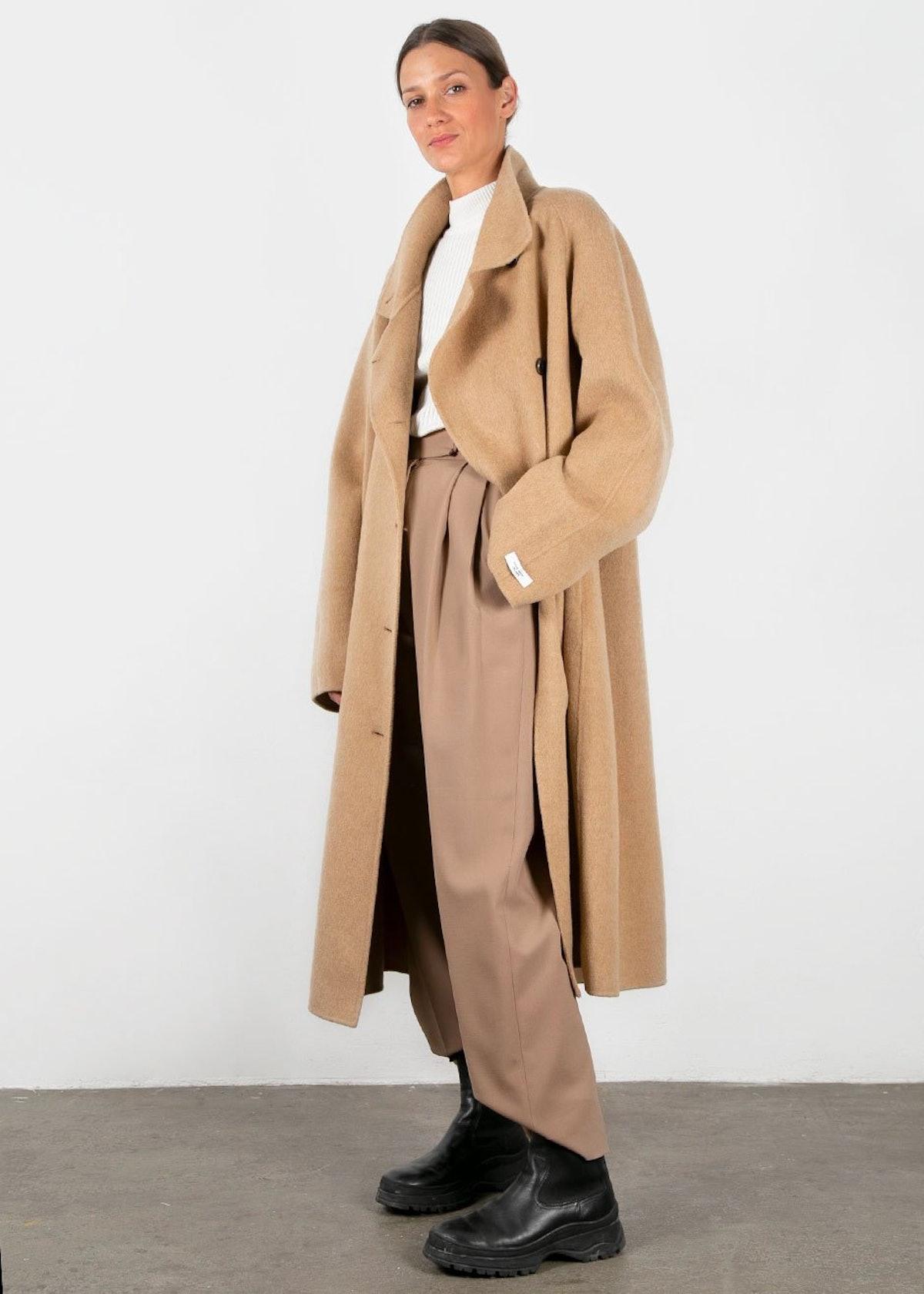 Asymmetrical Button Wool Blend Camel Coat