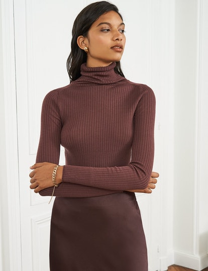 Burgundy Wool Ribbed Top