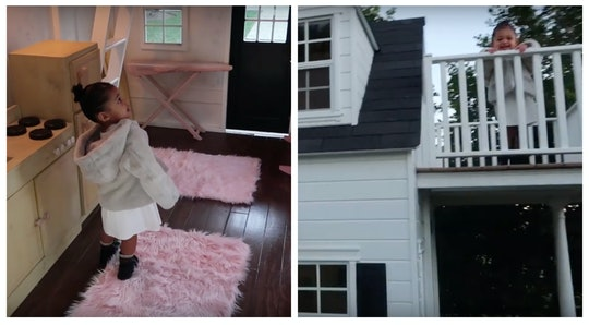Stormi Jenner stands in her new toy mansion