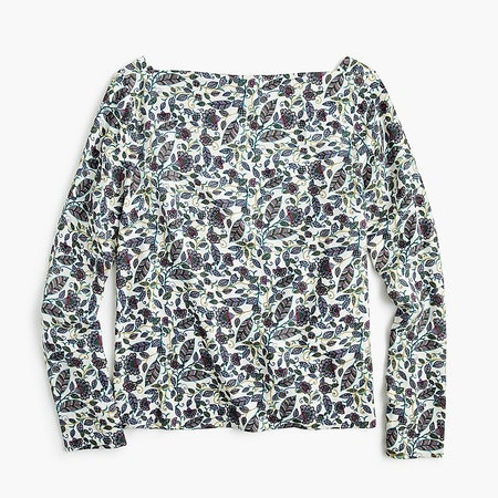 Drapey Boatneck Top In Floral