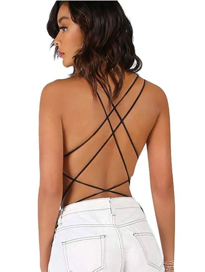 Verdusa Scoop Neck Strappy Backless Bodysuit