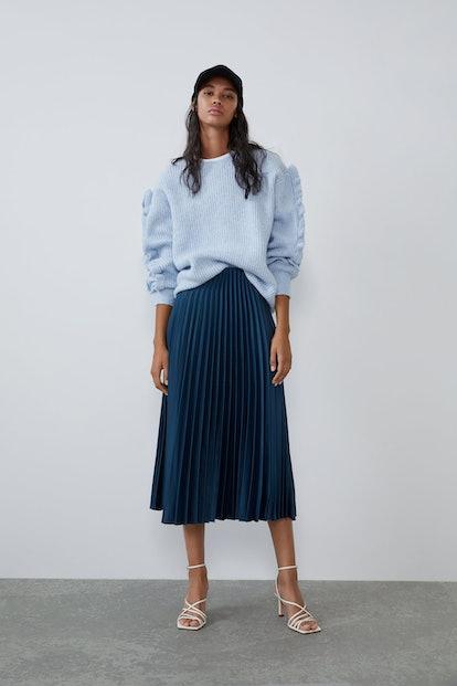 Pleated Satin Effect Skirt