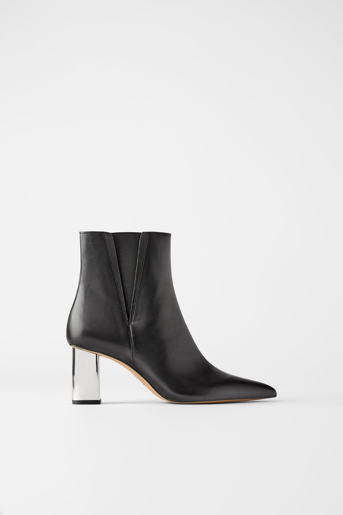 Metallic Heeled Leather Ankle Boots