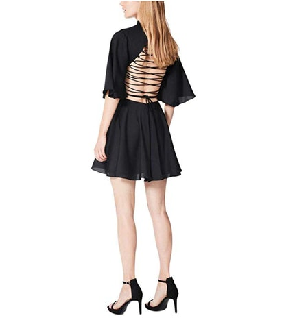 Fame and Partners Lace-Up Open Back Cocktail Dress