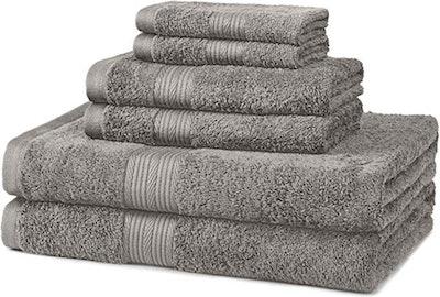 AmazonBasics 6-Piece Fade-Resistant Bath Towel Set