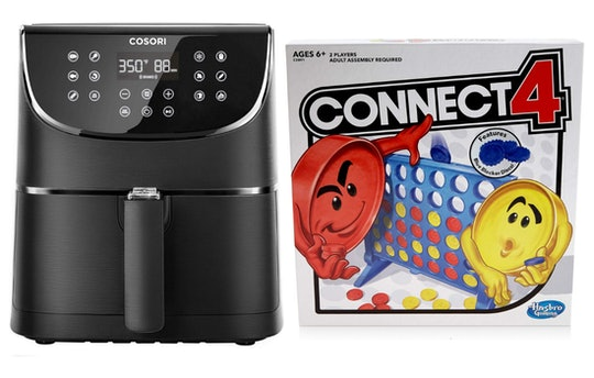 An image of an air fryer and a Connect 4 box, both bestselling amazon gifts in 2019