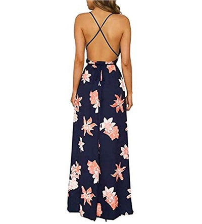 BerryGo Backless Floral Maxi Dress