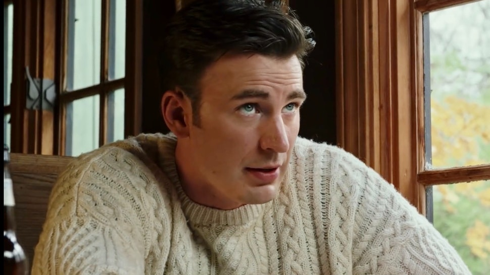 Chris Evans shared a photo of his dog Dodger wearing a sweater similar to the viral cable-knit sweater he wore in 'Knives Out.'
