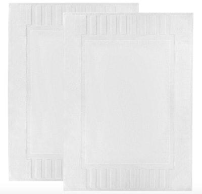 White Classic Luxury Bath Mat Floor Towel (Set of 2)