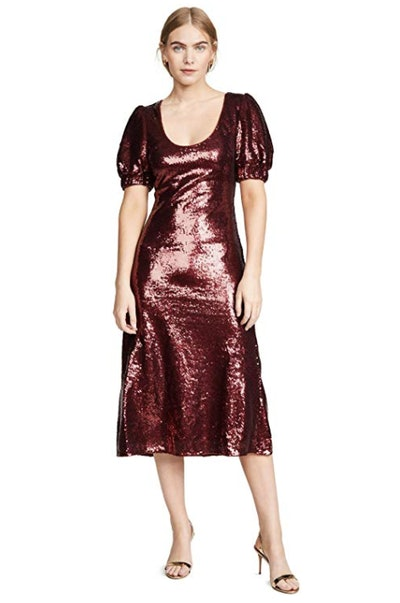 Farewell Puff Sleeve Sequin Midi Dress