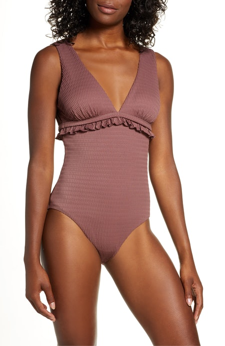 Chelsea28 Ruffle Trim One-Piece Swimsuit in Purple Taupe