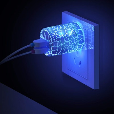 Wall Charger Block with Blue Night Light