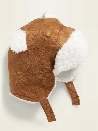Faux-Suede Sherpa Trapper Hat