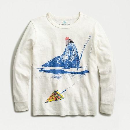 Kids' Long-Sleeve Fishing Walrus T-Shirt