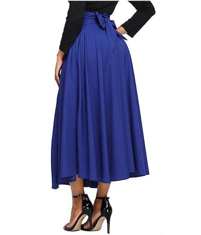 Asvivid High Waist Maxi Skirt with Pocket
