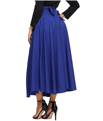 Asvivid High Waist Maxi Skirt with Pocket