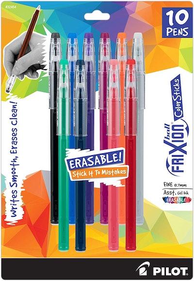 Pilot FriXion ColorSticks Erasable Gel Ink Stick Pens (10-Pack)