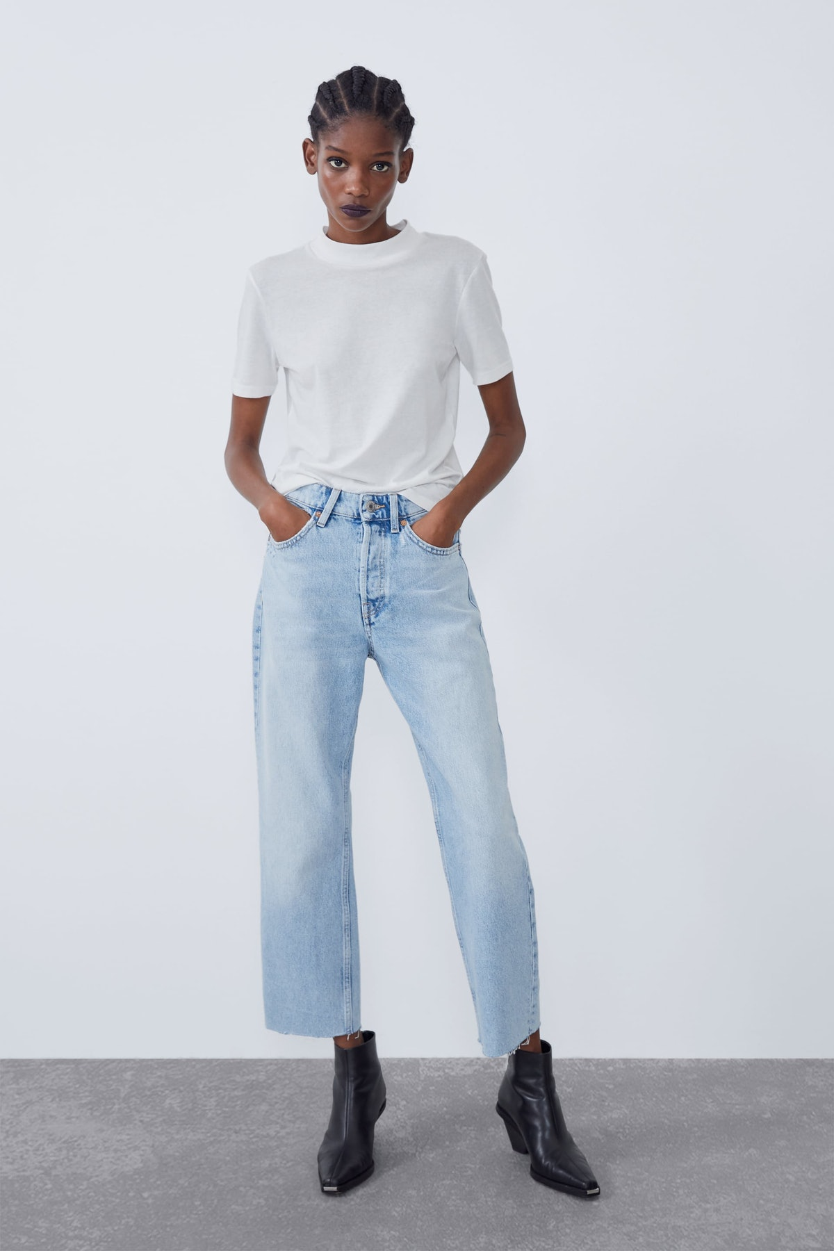Hi-Rise Straight Leg Jeans