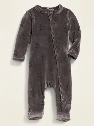 Velour Debossed Star Footed One Piece
