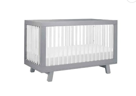 Babyletto Hudson 3-in-1 Convertible Crib in Grey/White