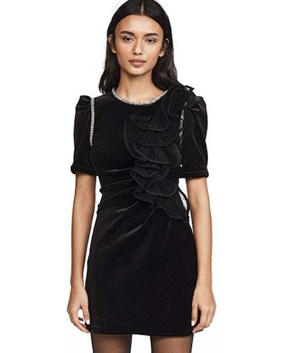 Velvet Ruffle Mini Dress
