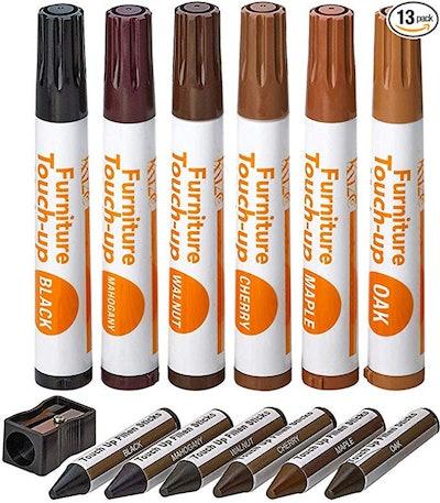 Katzco Furniture Repair Kit Wood Markers & Wax Sticks (13 Pieces)