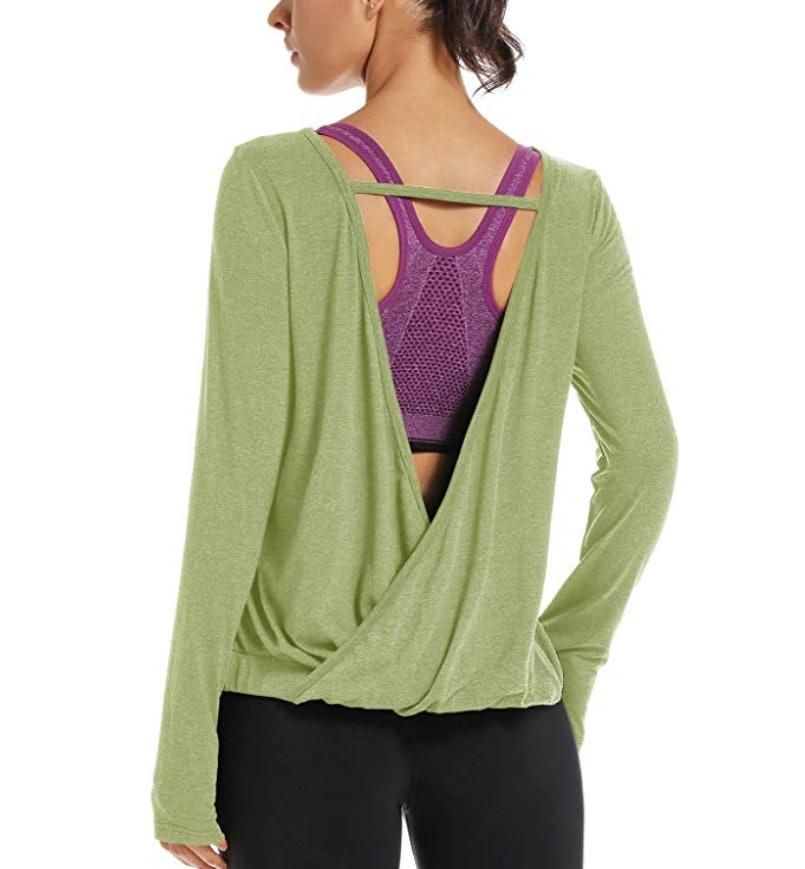 Long Sheer Sleeves ZOE Color Strapped Scoop Neck Asymmetric Hem Womens Top