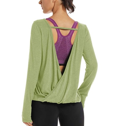 Muzniuer  Long Sleeve Open Back Yoga Shirt