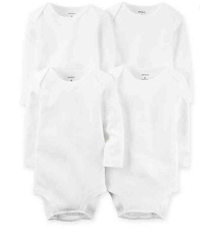 carter's 4-Pack White Long Sleeve Bodysuits