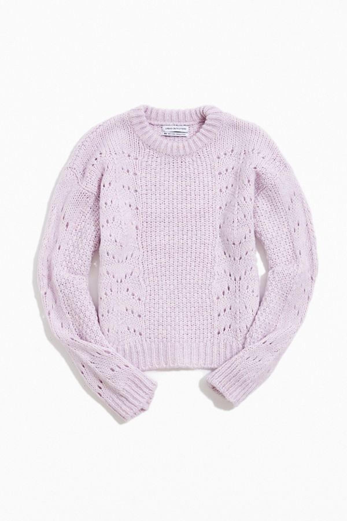 UO Libby Pointelle Crew Neck Sweater