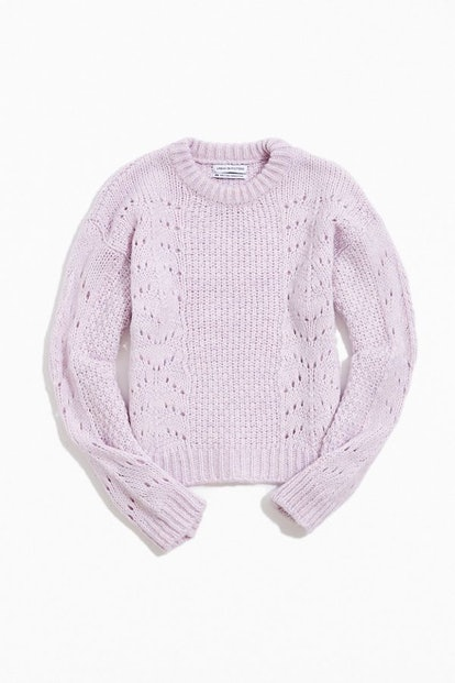 UO Libby Pointelle Crew Neck Sweater