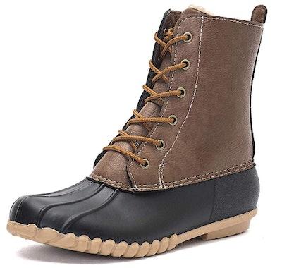 DKSUKO Women's Duck Boots With Waterproof Zipper