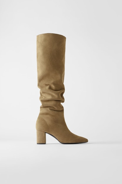 Split Leather Mid-Height Heeled Boots