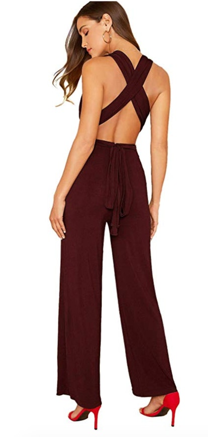 Verdusa Open Back Sleeveless Wide Leg Jumpsuit
