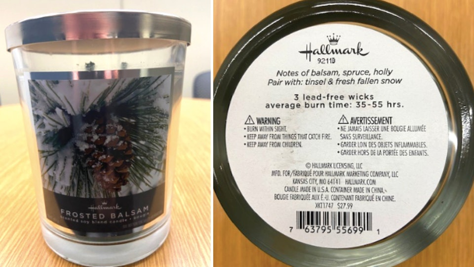 Hallmark recalled holiday scented candles.