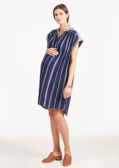 Boxy Woven Dress in True Navy Lurex Stripe