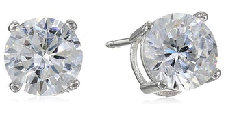 Amazon Essentials Plated Sterling Silver Cubic Zirconia Stud Earrings